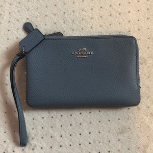 Midnight Blue Coach Double Zipper Wallet - Used